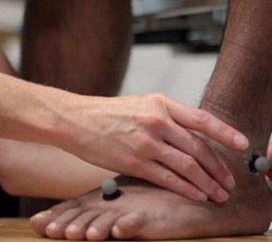 Foot being examined by Podiatrist
